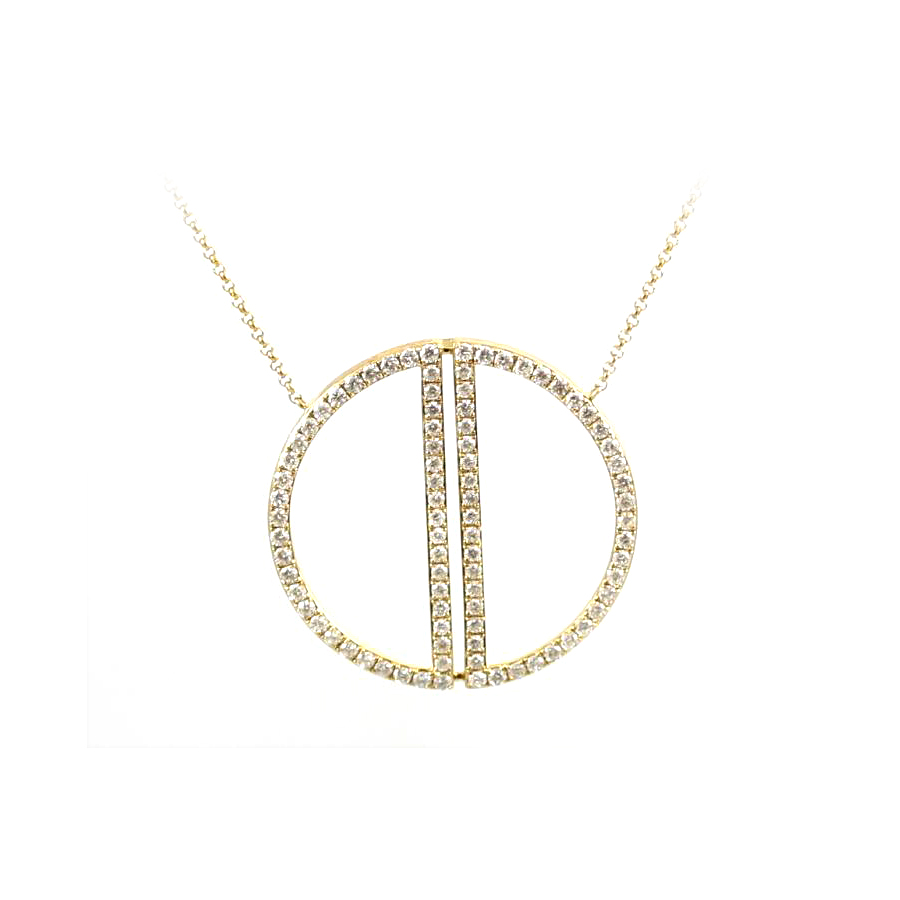 14 Karat Yellow Gold Diamond Circle Pendant Necklace