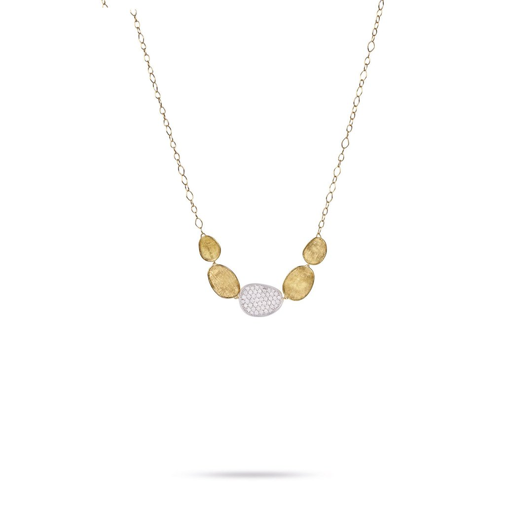Marco Bicego 18 Karat Yellow Gold Lunaria Diamond Disk Necklace