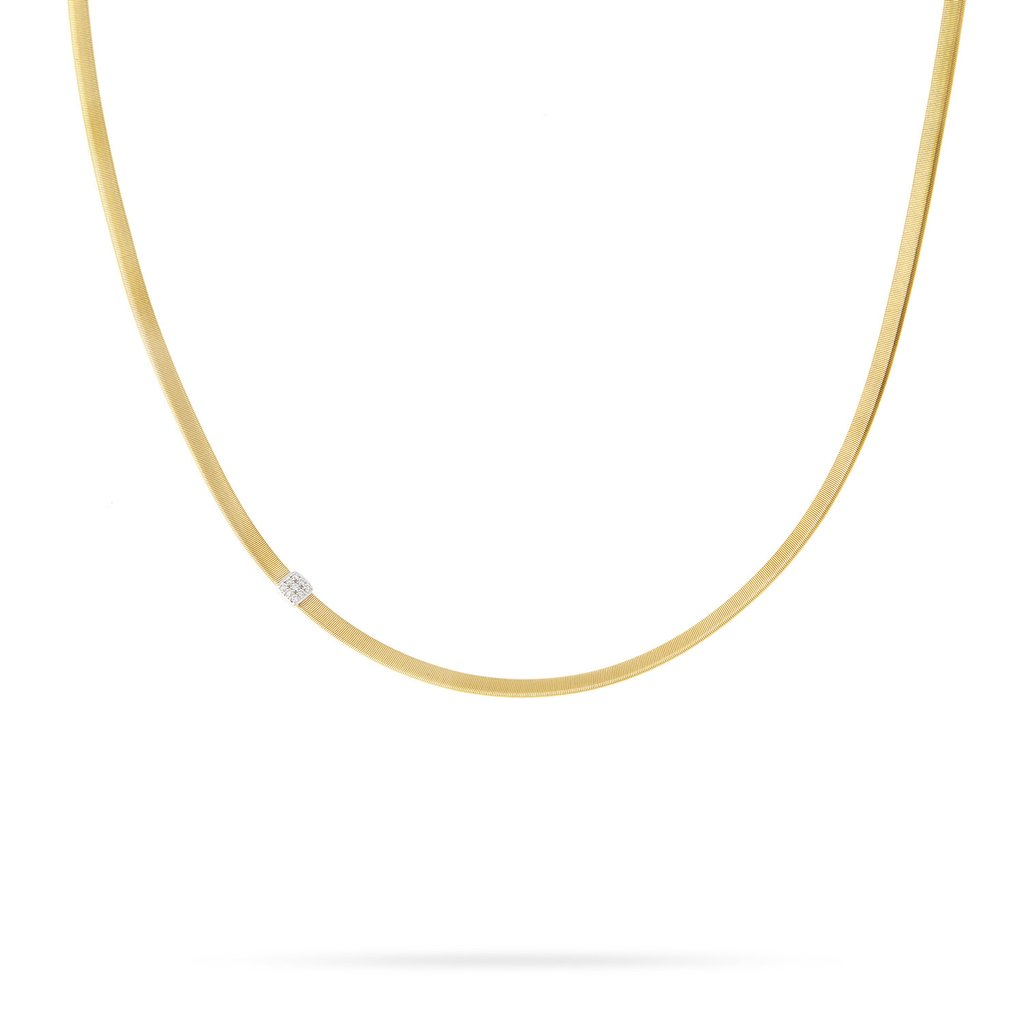 Marco Bicego 18 Karat Yellow Gold Single Diamond Station Necklace