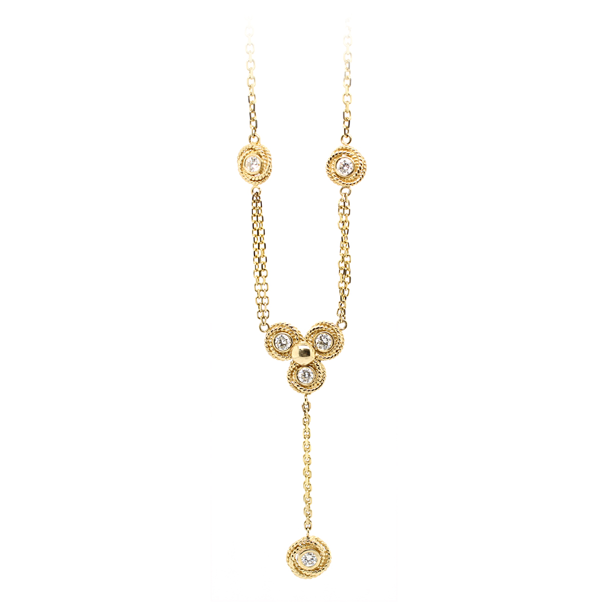 Ryan Gems 14 Karat Yellow Gold Diamond Lariat Chain Necklace