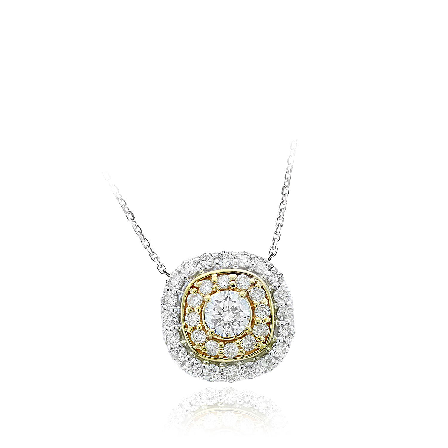 Ryan Gems 14 Karat Yellow and White Gold Diamond Pendant Necklace