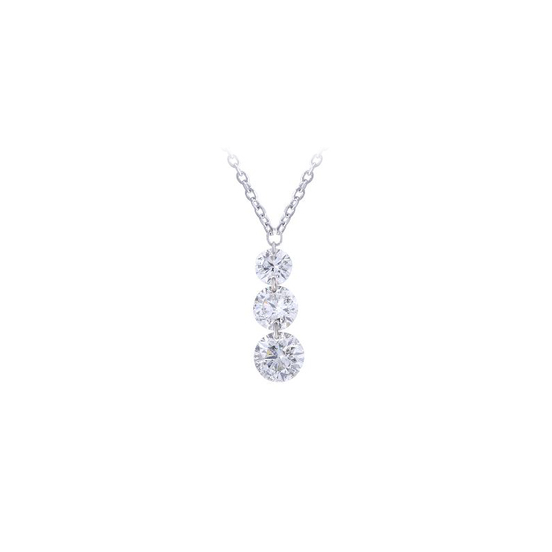 Paramount Gems 14 Karat White Gold Three Diamond Drop Necklace