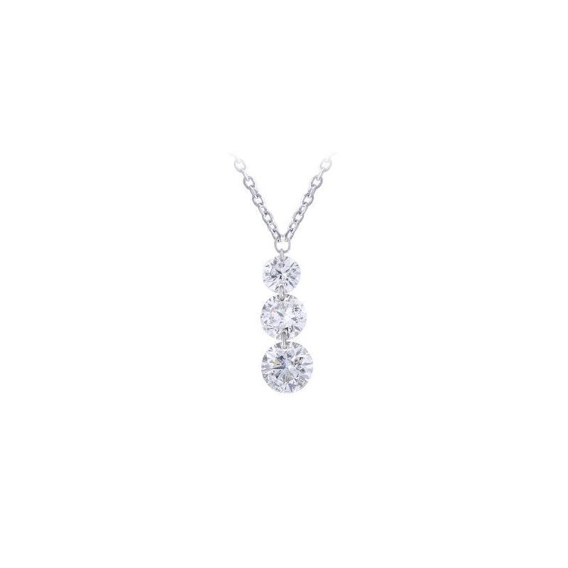 Paramount Gems 14 Karat White Gold Three Diamond Drop Necklace