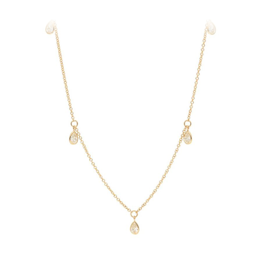 14 Karat Yellow Gold Five Pear Shaped Diamond Station Necklace