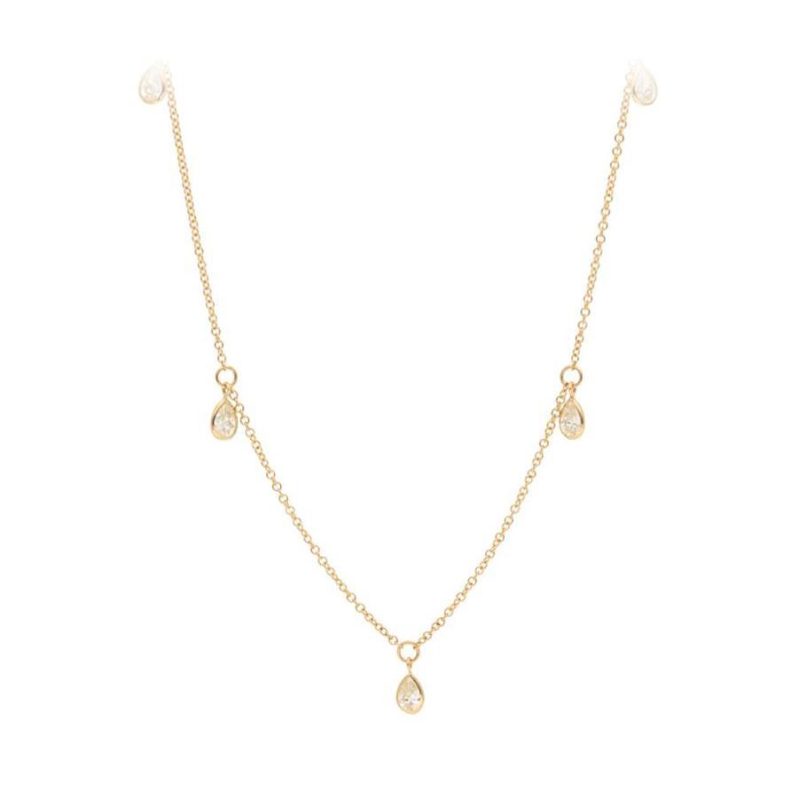 14 Karat Yellow Gold Five Pear Shaped Diamond Station Necklace