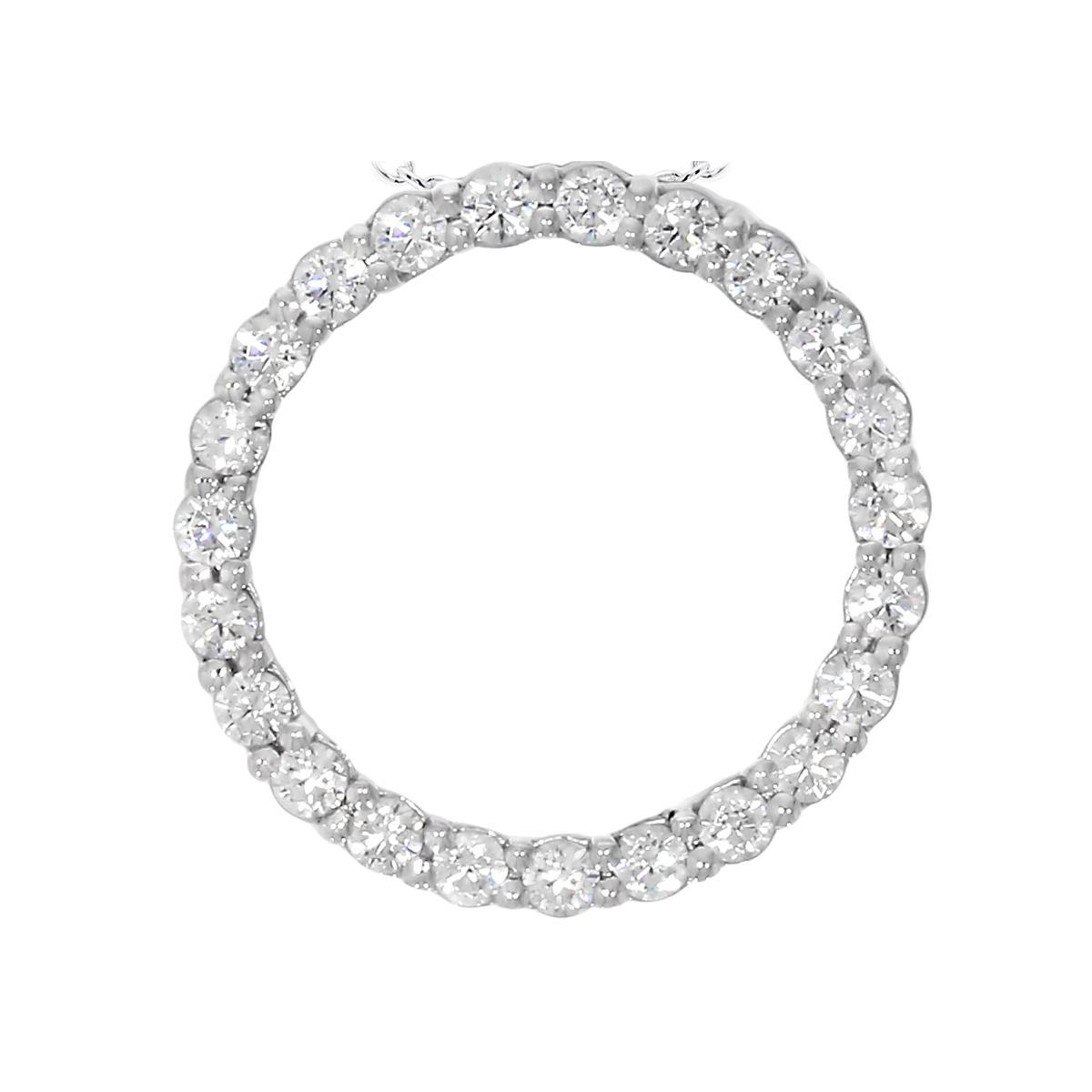 """Paramount Gems 14 Karat White Gold 1 Carat Diamond """"Circle of Life"""" Necklace"""