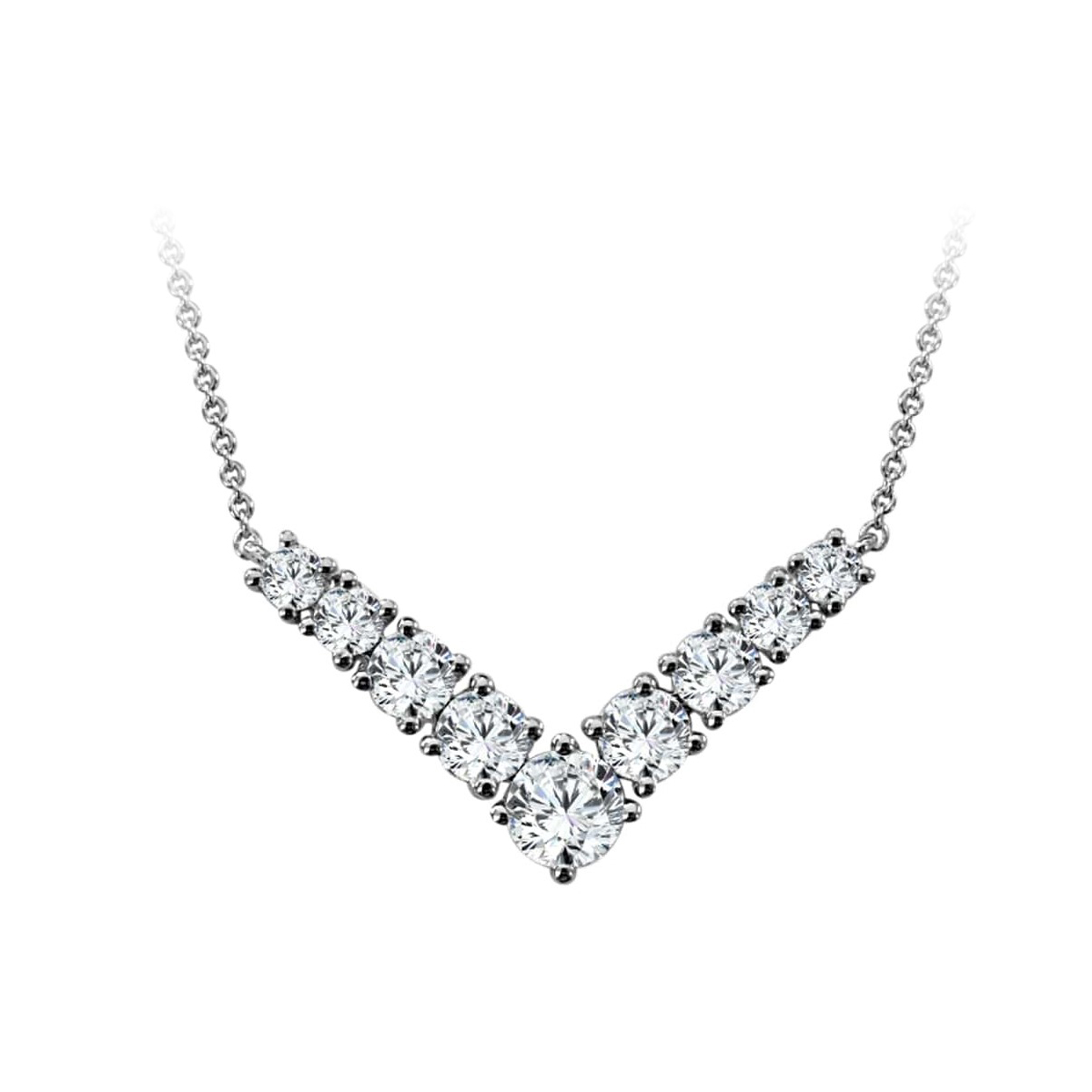 Paramount Gems 14 Karat White Gold 1.5 Carat Diamond V Necklace