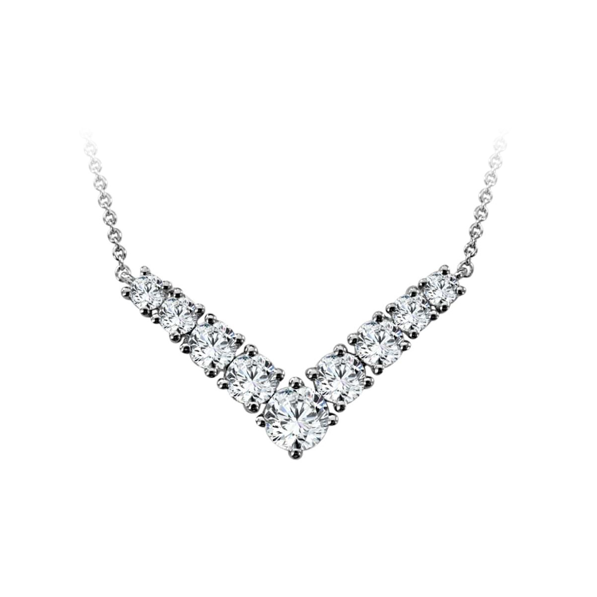 Paramount Gems 14 Karat White Gold 2 Carat Diamond V Necklace