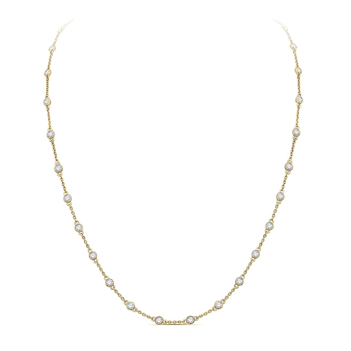 Paramount Gems 14 Karat Yellow Gold 1 Carat Diamond By the Yard Necklace
