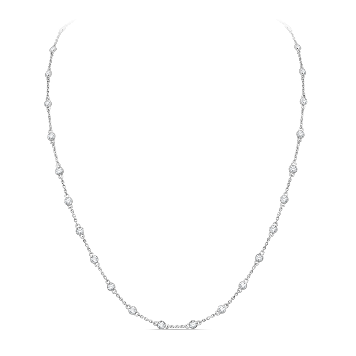 Paramount Gems 14 Karat White Gold 1 Carat Diamond By the Yard Necklace