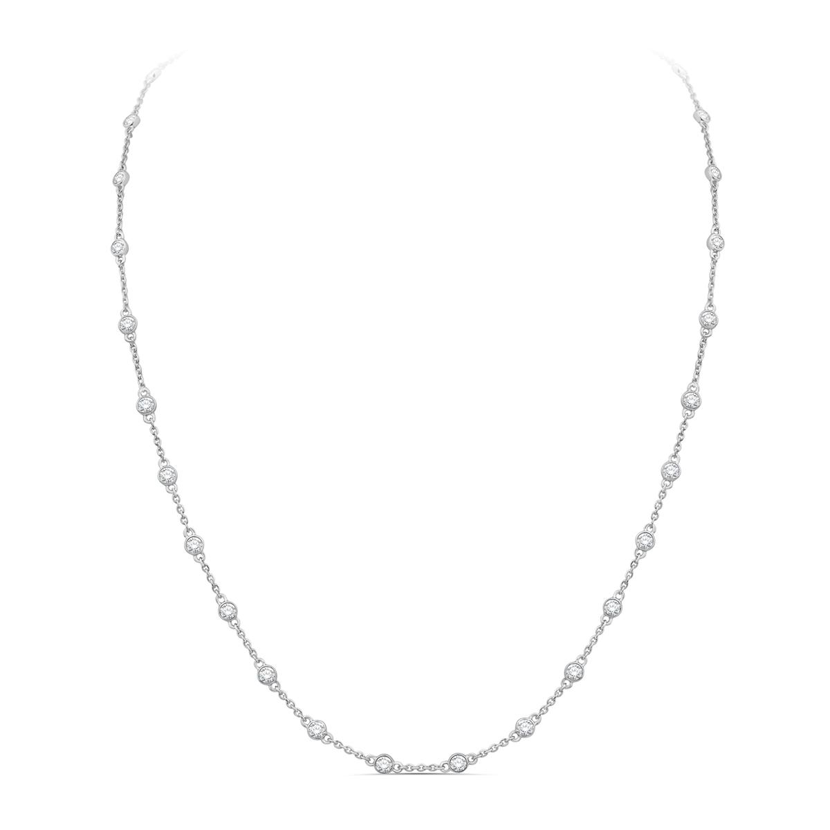 Paramount Gems 14 Karat White Gold 3 Carat Diamond By the Yard Necklace