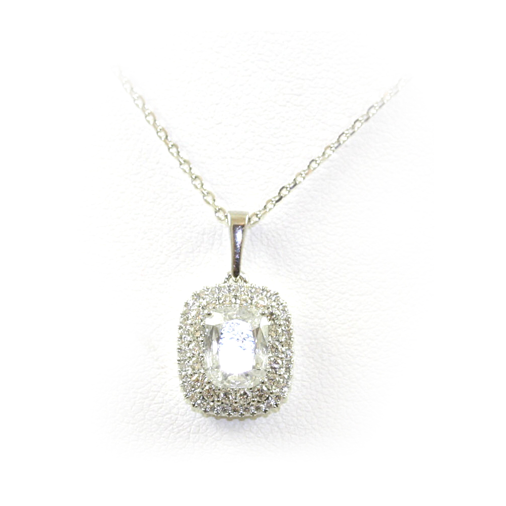 14 Karat White Gold Cushion Cut Diamond Pendant Necklace