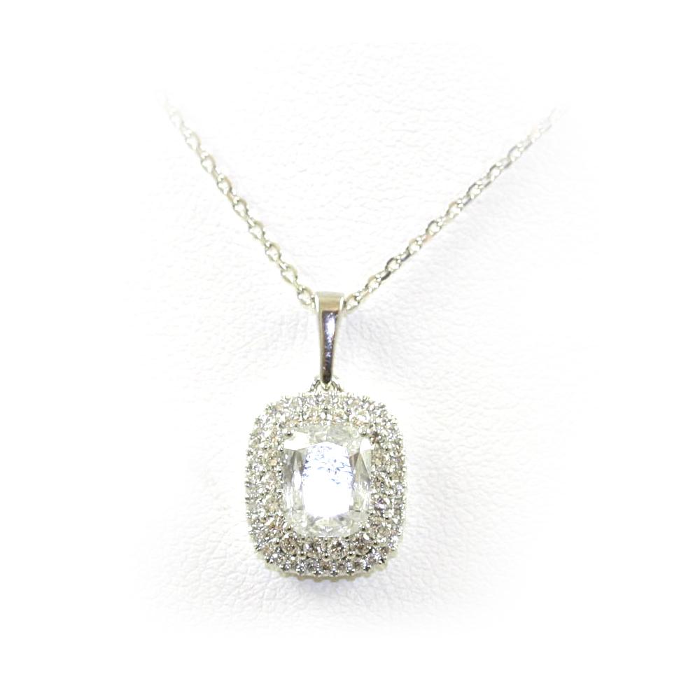 14 Karat White Gold Cushion Cut Diamond Pendant Necklace
