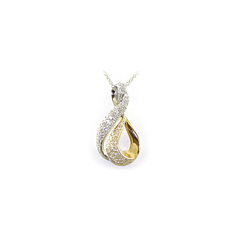 14 Karat Yellow Gold Curved Diamond Pendant Necklace