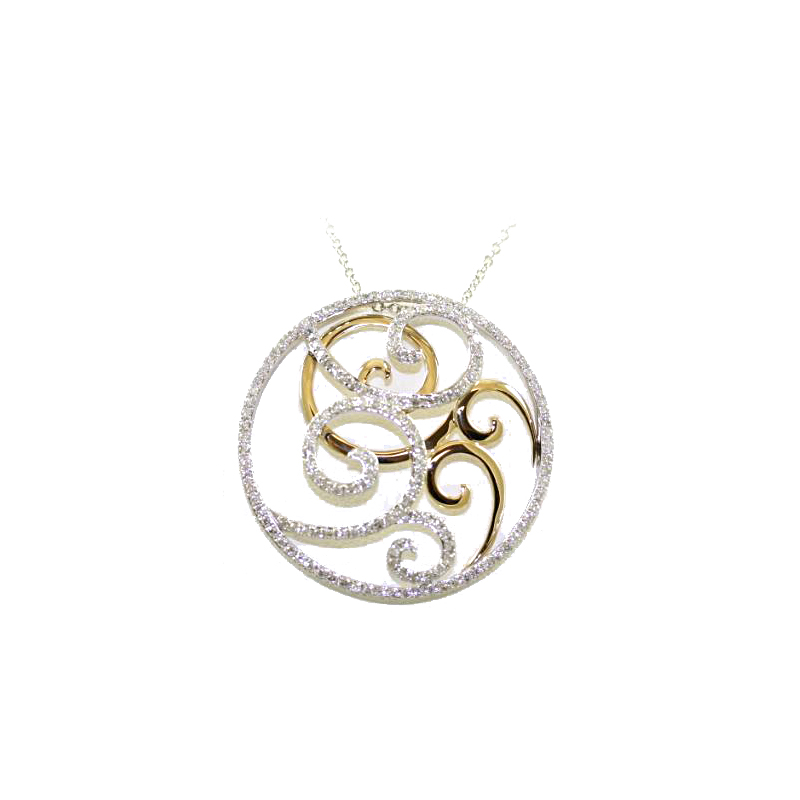 14 Karat Yellow and White Gold Filigree Circle Diamond Pendant