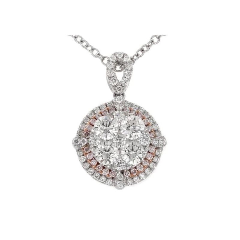 Gregg Ruth 18 Karat white gold, white and natural pink diamond pendant.