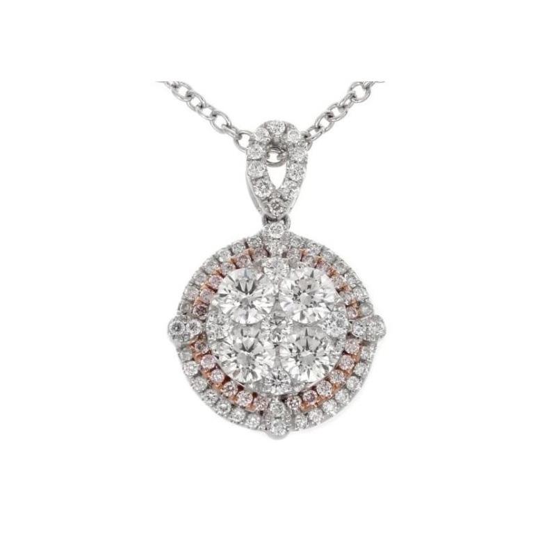 Gregg Ruth 18 Karat white gold, white and natural pink diamond pendant.