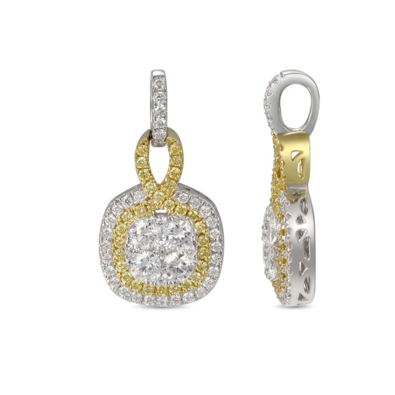 """Gregg Ruth 18 Karat white gold, white and natural yellow diamond pendant on a 18"""" oval link chain."""