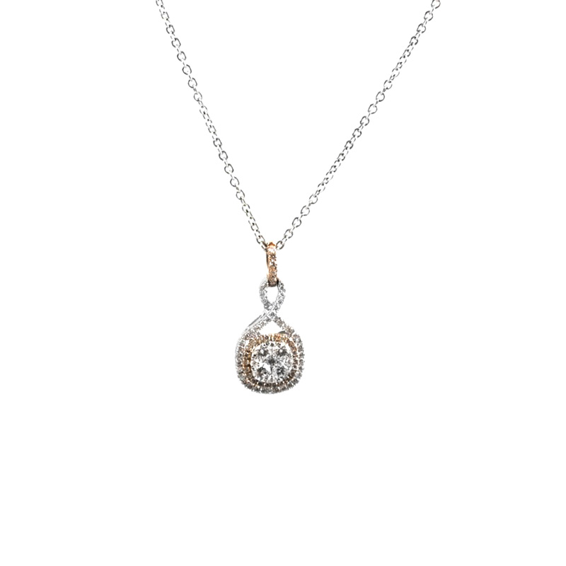 """Gregg Ruth 14 Karat white gold, white and natural pink diamond pendant on a 17"""" oval link chain."""