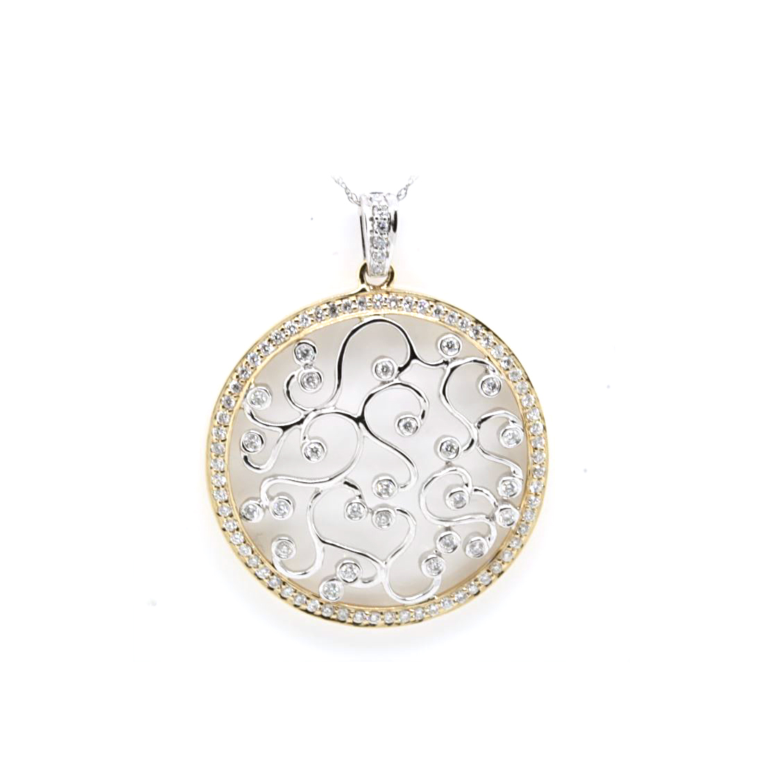 14 Karat White and Yellow Gold Diamond Circle Pendant Necklace