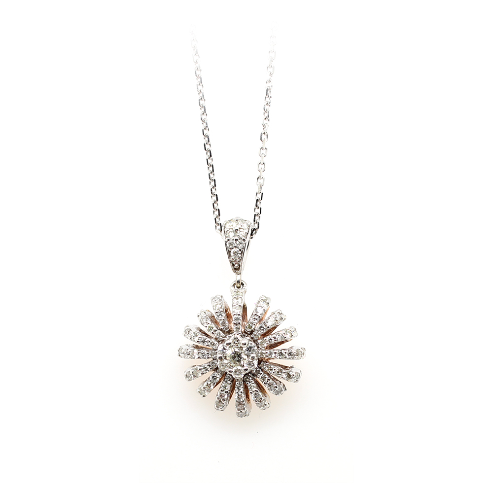 Ryan Gems 14 Karat White Gold Diamond Sunburst Pendant