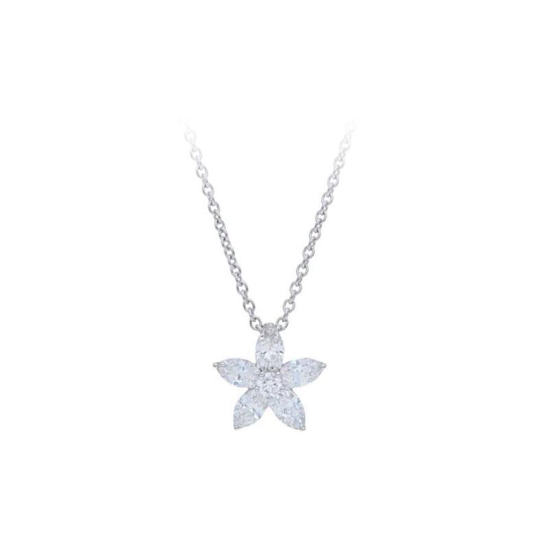 Beny Sofer 14 Karat Marquise Diamond Flower Pendant Necklace