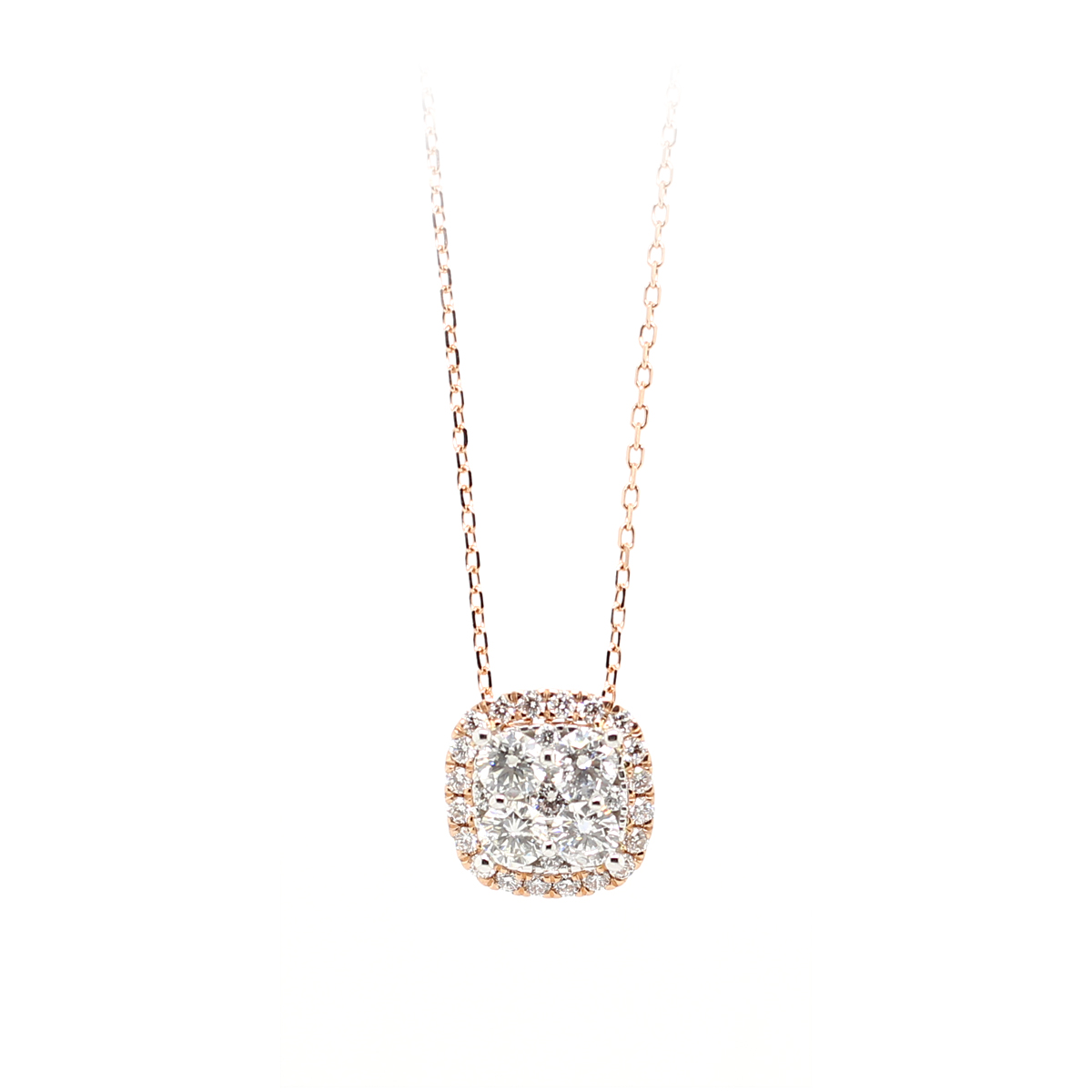 14 Karat Rose Gold Cushion Shaped Diamond Halo Pendant Necklace
