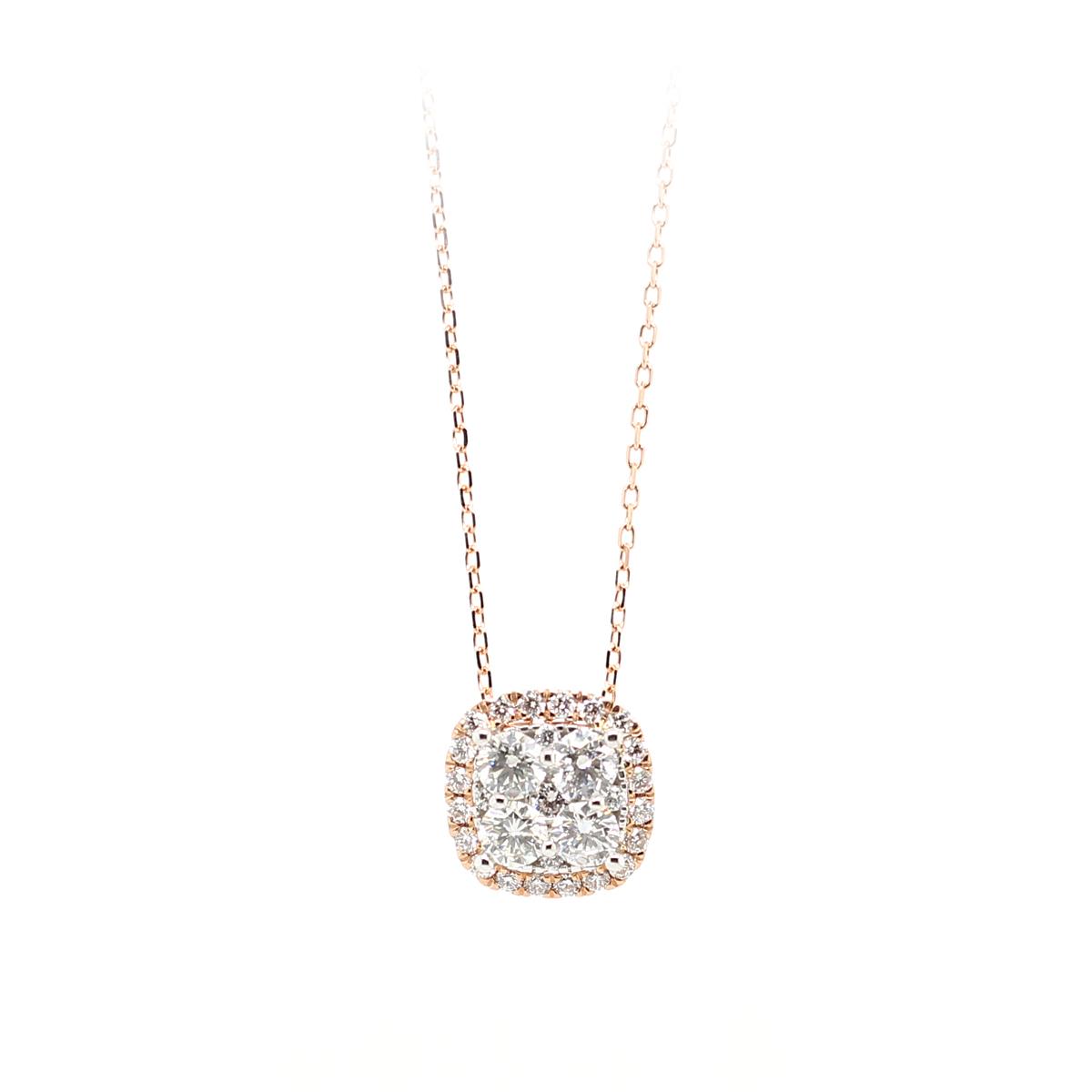 14 Karat Rose Gold Cushion Shaped Diamond Halo Pendant Necklace