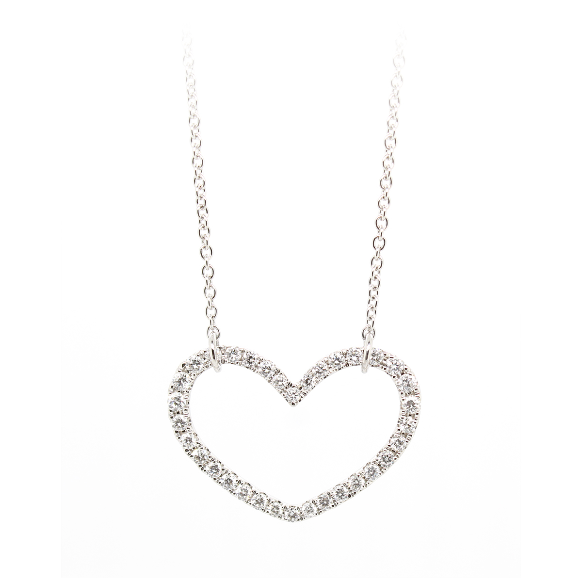 18 Karat White Gold Diamond Open Heart Necklace