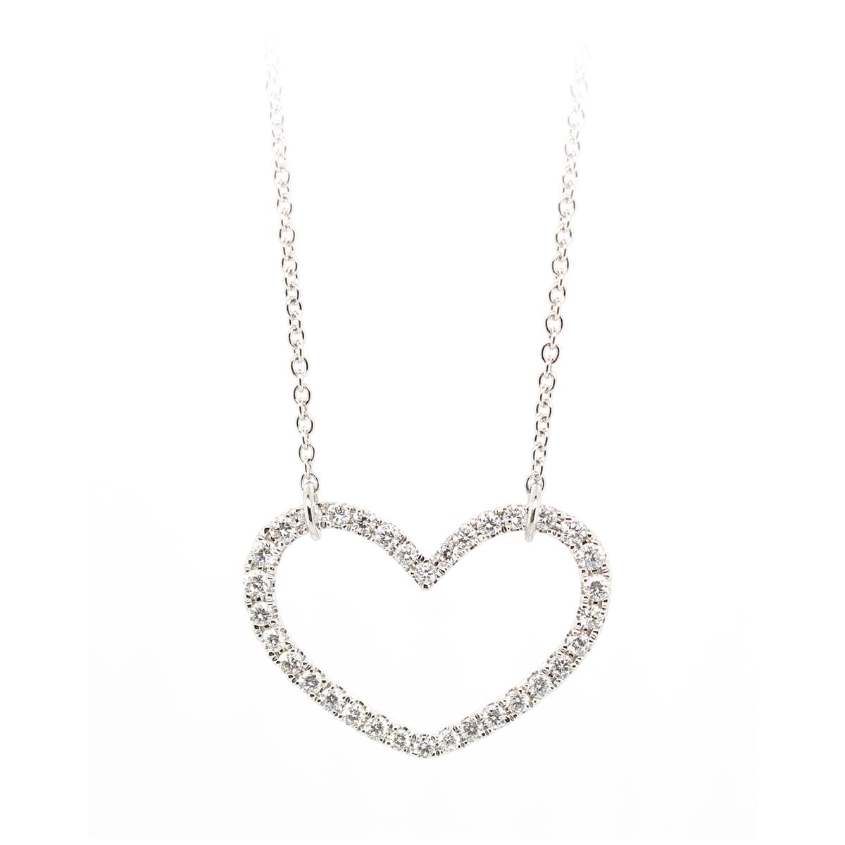 18 Karat White Gold Diamond Open Heart Necklace
