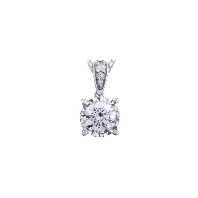 Paramount Gems 14 Karat White Gold Diamond Buttercup Pendant Necklace
