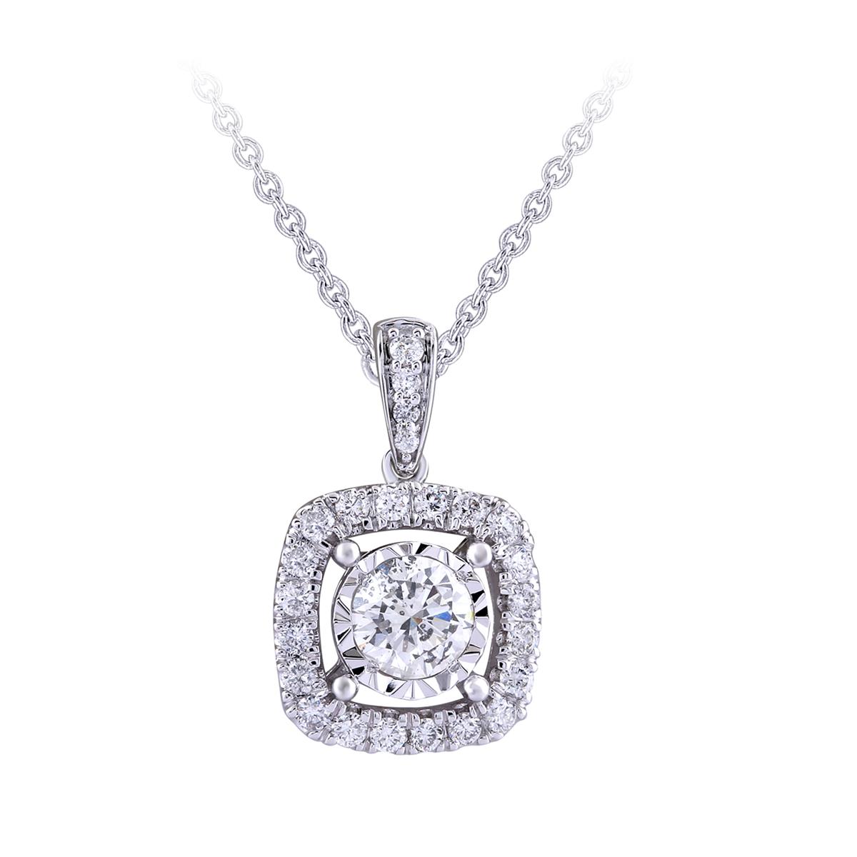 Paramount Gems 14 Karat White Gold Round .75 Carat Diamond Halo Pendant Necklace