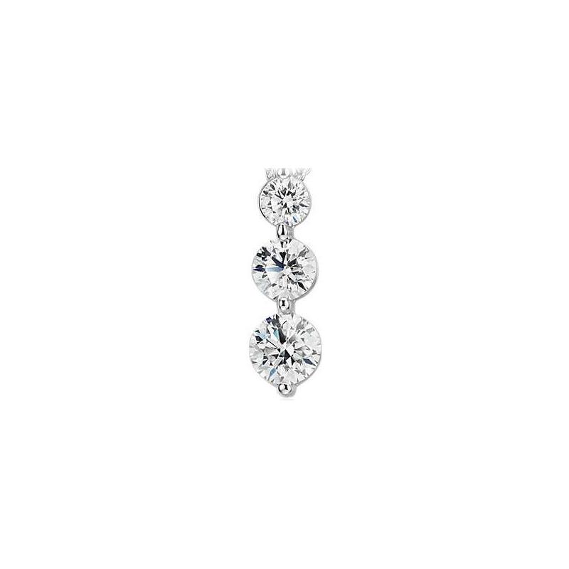 Paramount Gems 14 Karat White Gold 1.5 Carat Three Diamond Pendant Necklace