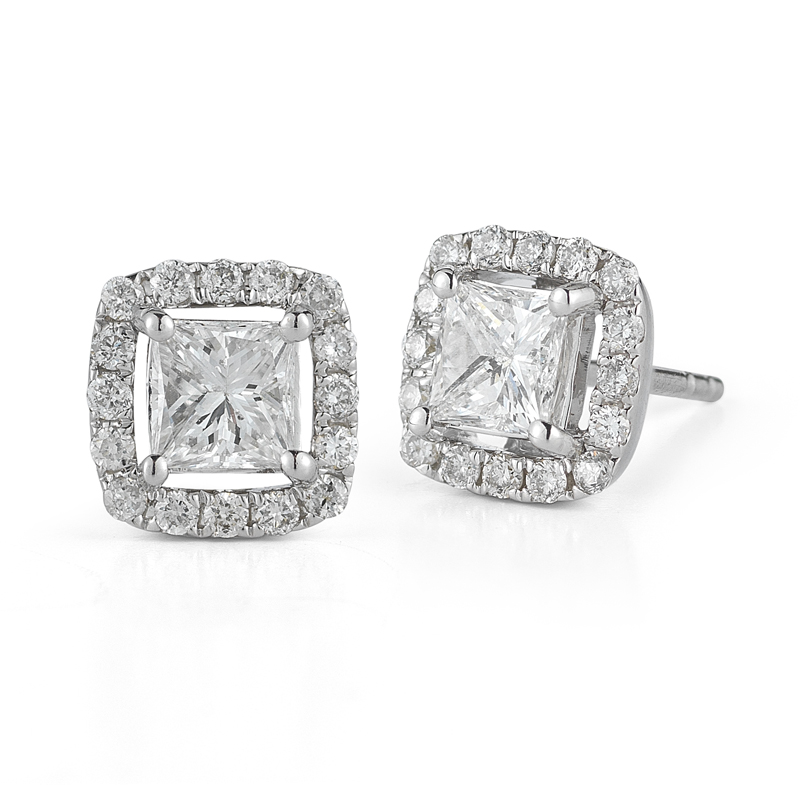 Paramount Gems White Gold Square Diamond Halo Stud Earrings