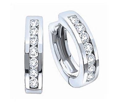 10 Karat White Gold Diamond Huggie Hoop Earrings