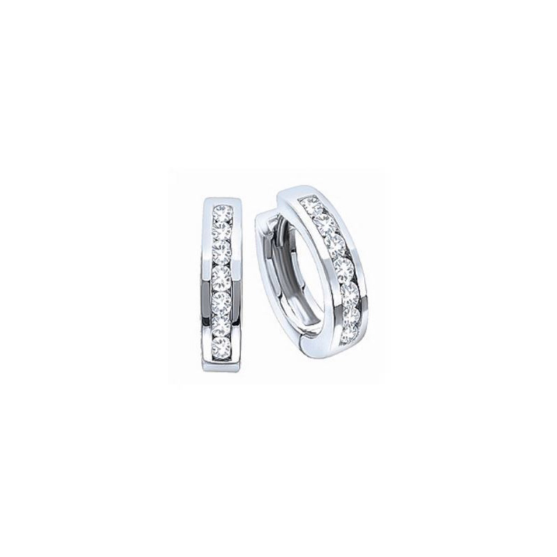 10 Karat white gold hinged diamond huggy hoop earrings.