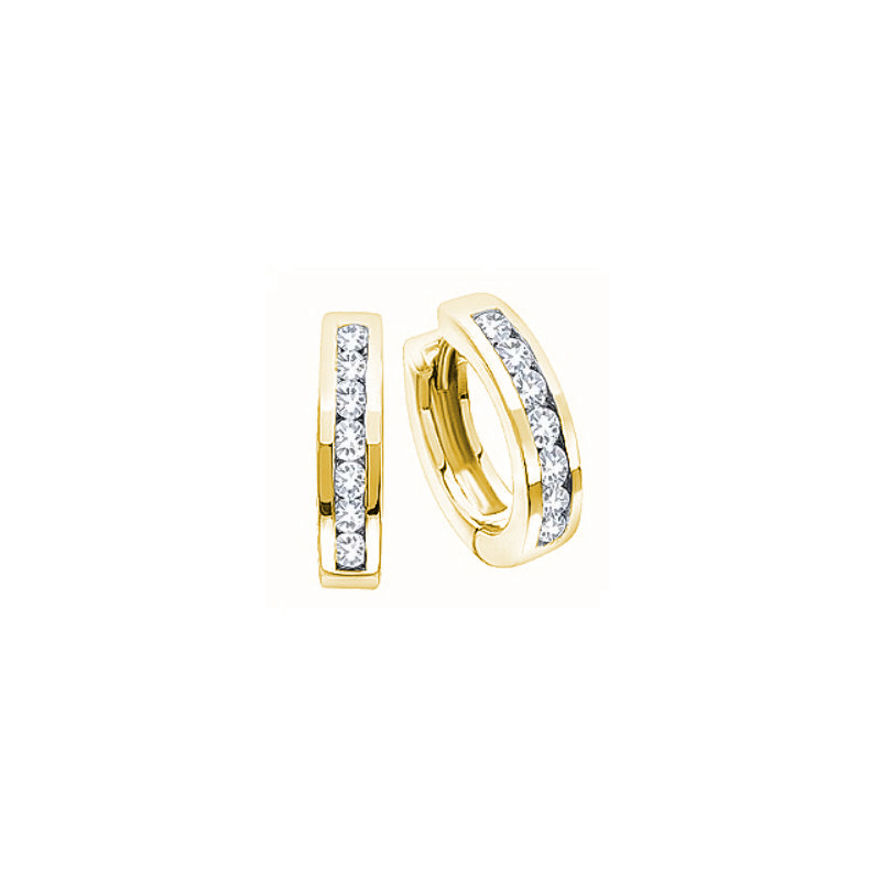 10 Karat yellow gold hinged diamond huggy hoop earrings.