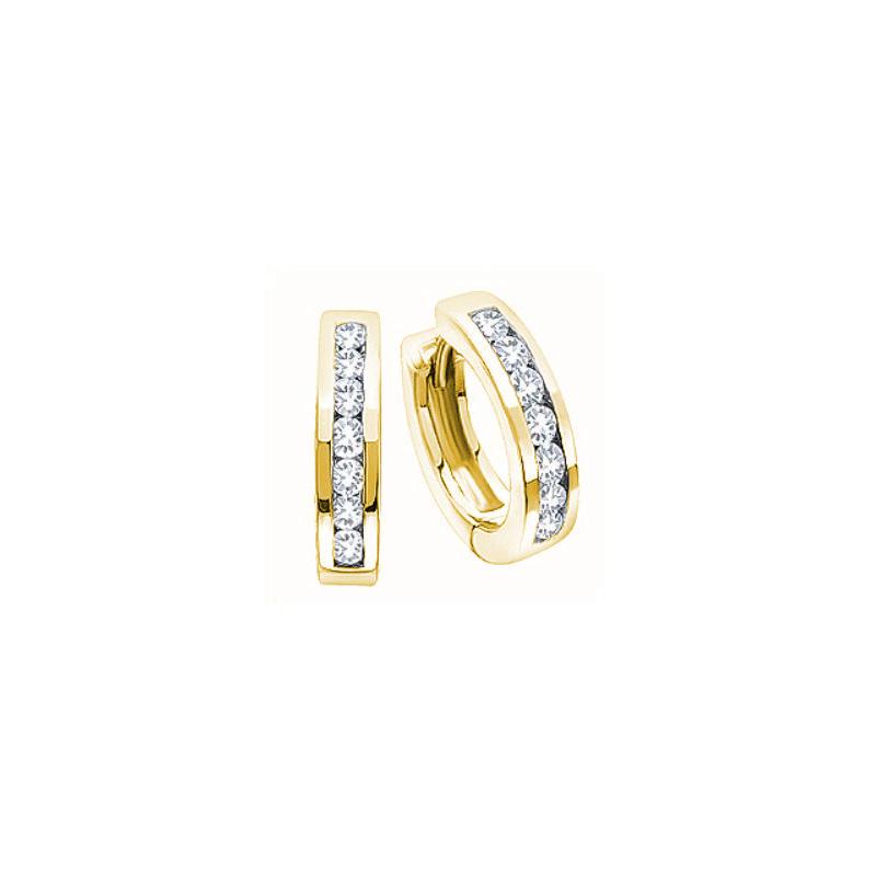 10 Karat yellow gold hinged diamond huggy hoop earrings.