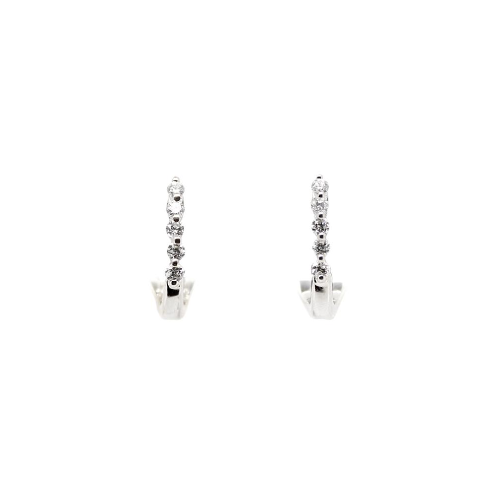 Shefi Diamonds 14 Karat White Gold Diamond J Hoop Earrings (.25 Carat)