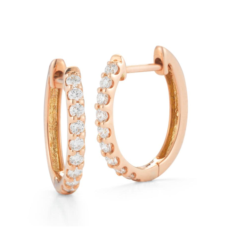 Beny Sofer 14 Karat Rose Gold Diamond Hinged Huggie Hoop Earrings
