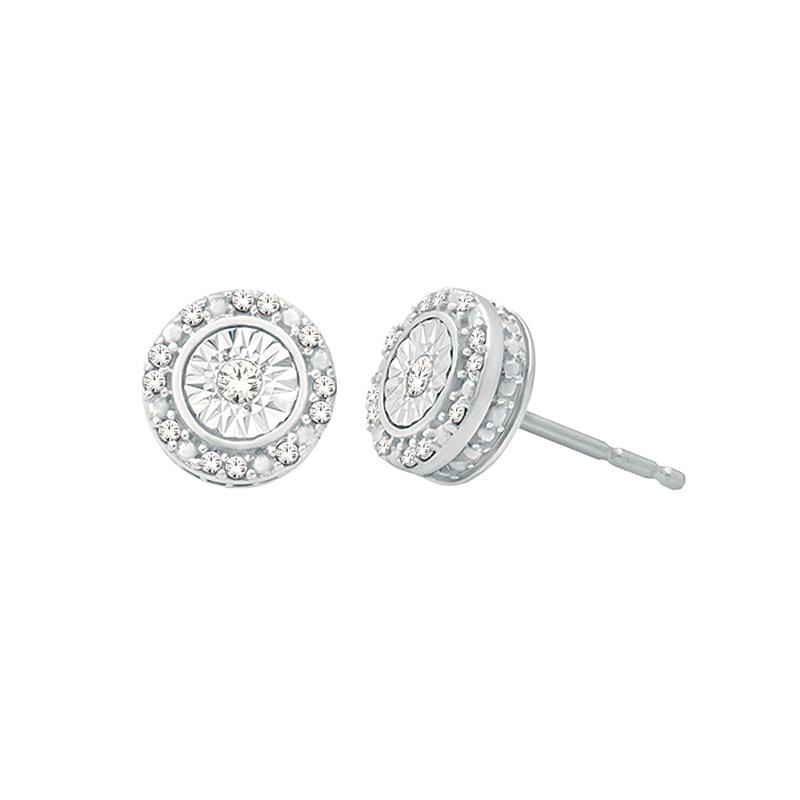 10 Karat White Gold Diamond Button Stud Earrings