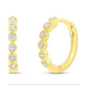 14 Karat Yellow Gold Hinged Diamond Huggie Earrings