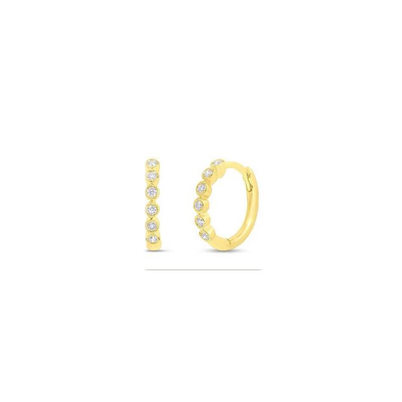 14 Karat Yellow gold and diamond hinged huggie earrings.