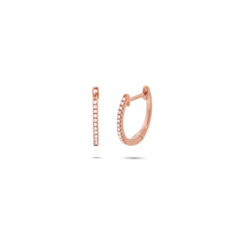 14 Karat Rose Gold Hinged Diamond Huggie Earrings