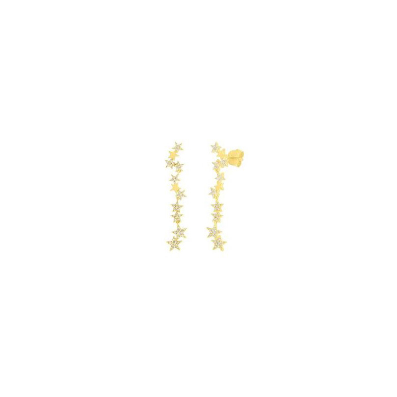 14 Karat yellow gold and diamond star dangle earrings.
