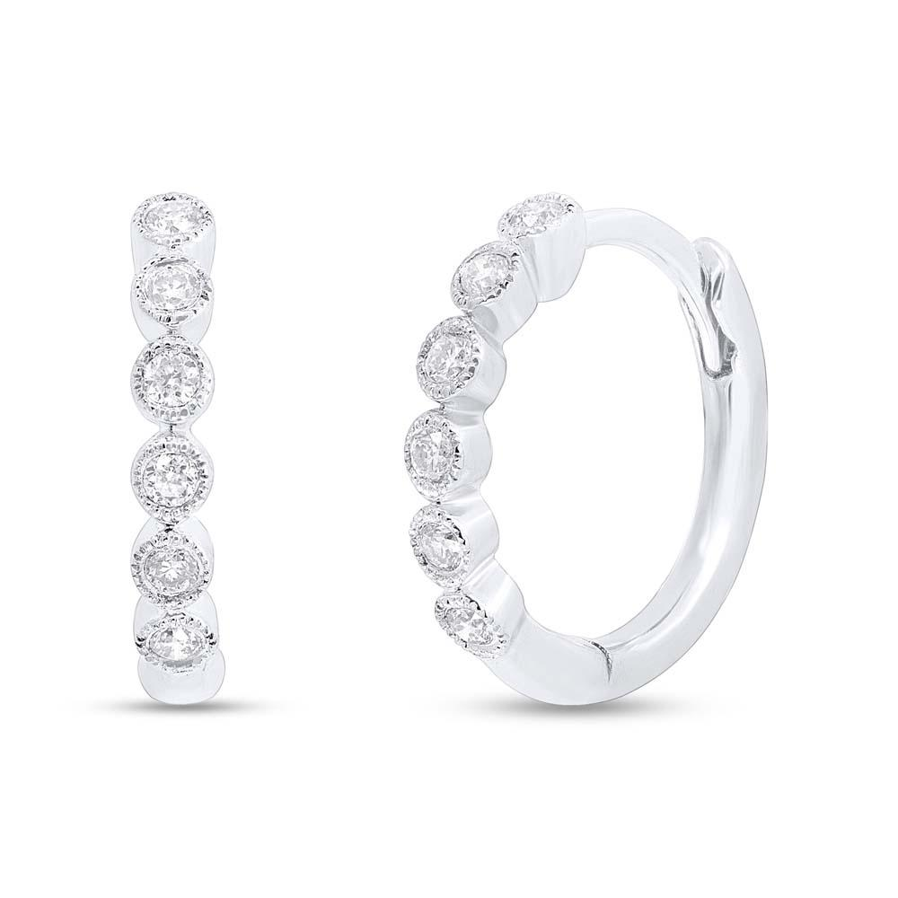 14 Karat White Gold Hinged Diamond Huggie Earrings