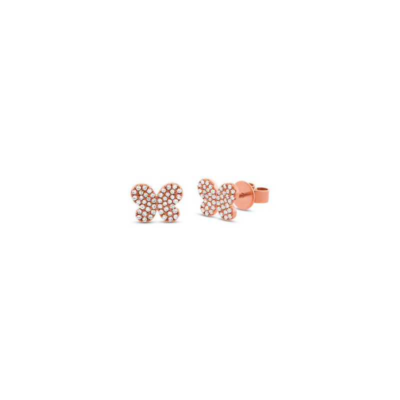 14 Karat rose gold and diamond butterfly earrings.