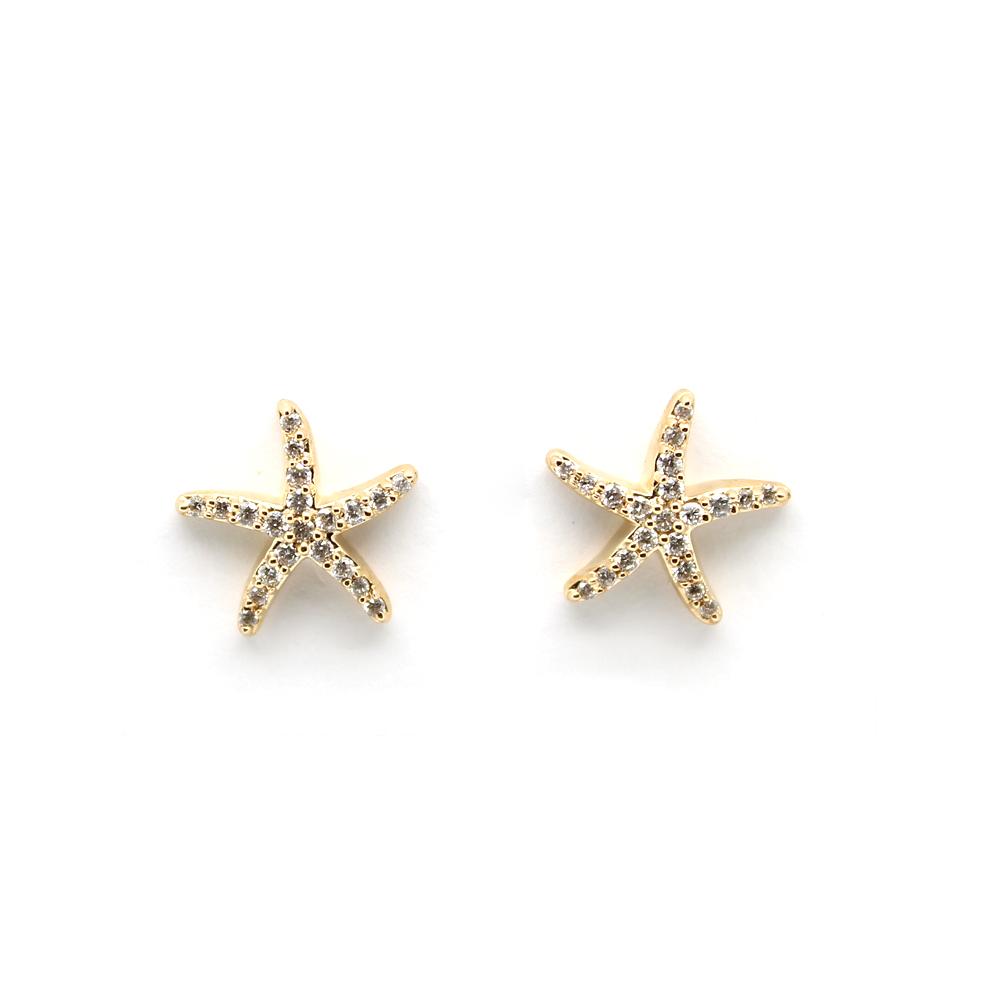 Shefi Diamonds 14 Karat Yellow Gold Diamond Starfish Earrings (.25 Carat)