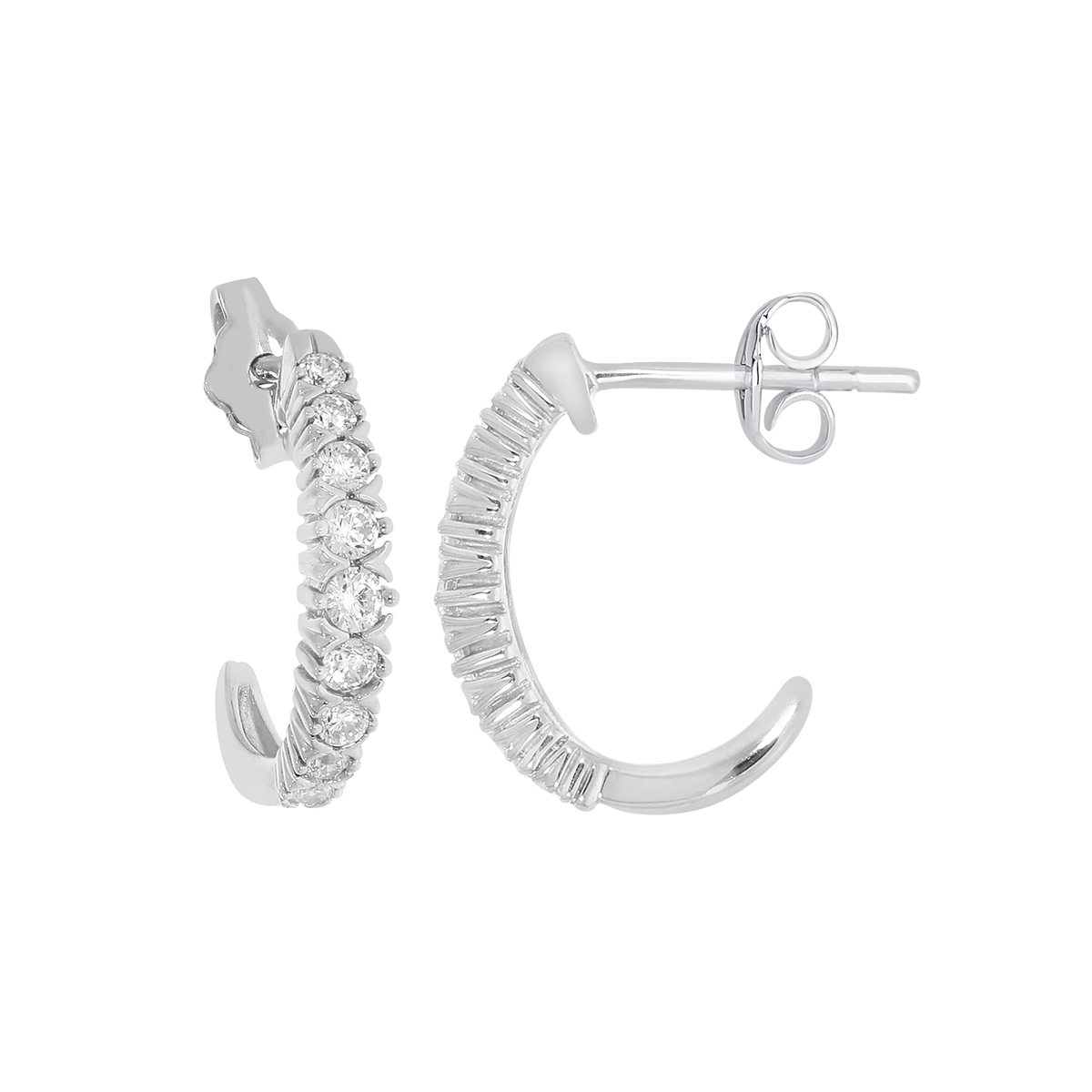 Paramount Gems 14 Karat White Gold J Hoop Diamond Earrings