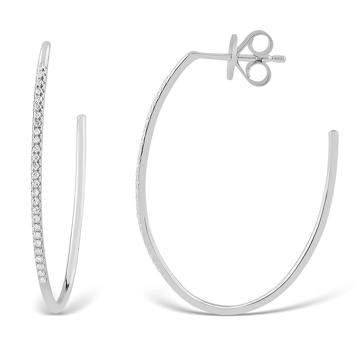 Paramount Gems 14 Karat White Gold Oval Strand Diamond Hoop Earrings